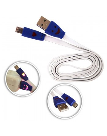 CABLE USB A MICROUSB BLANCO CONECTOR LUMINOSO