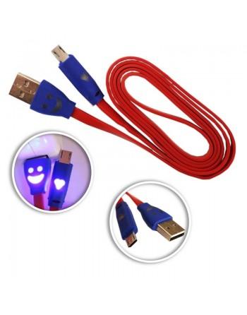 CABLE USB A MICROUSB ROJO CONECTOR LUMINOSO