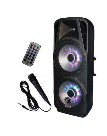 BAFLE BI AMPLIFICADO DOBLE 15 BLUETOOTH USB SD  150w RMS