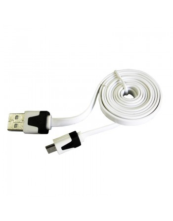 CABLE PLANO USB A MICRO USB PARA CELULARES BLANCO